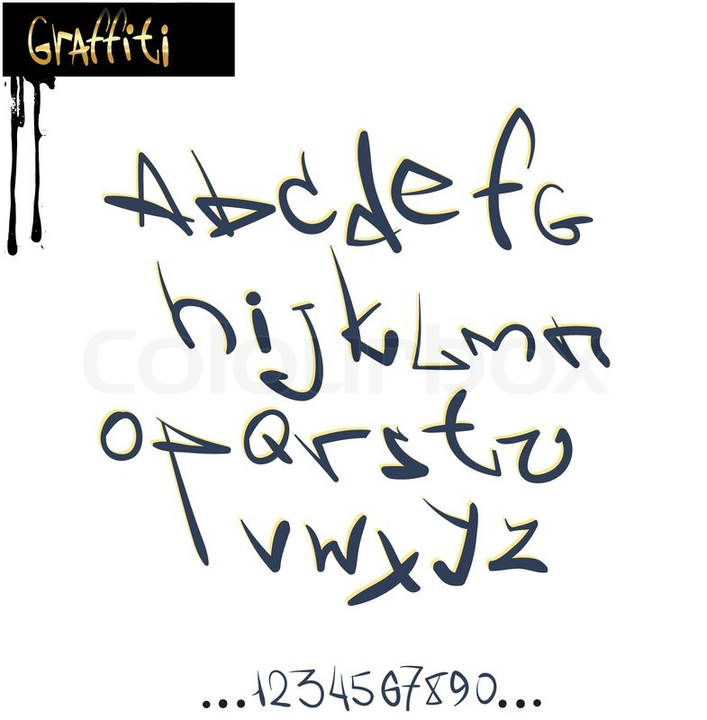 785x800 Graffiti Font Alphabet, Abc Letters Stock Vector Colourbox