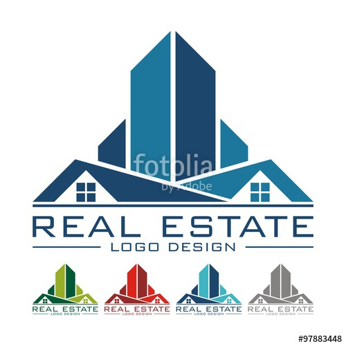 500x500 Rooftop Real Estate Logo Sample, Vector Illustration Stock Image