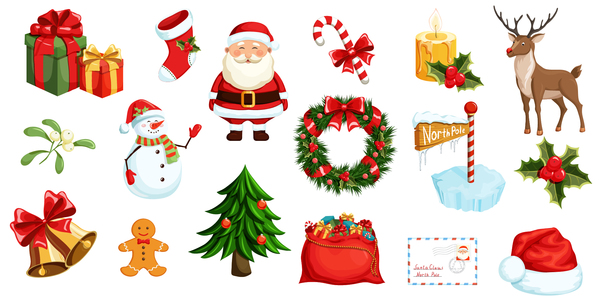 600x302 Christmas Decor Sample Elements Vector Set 03 Free Download