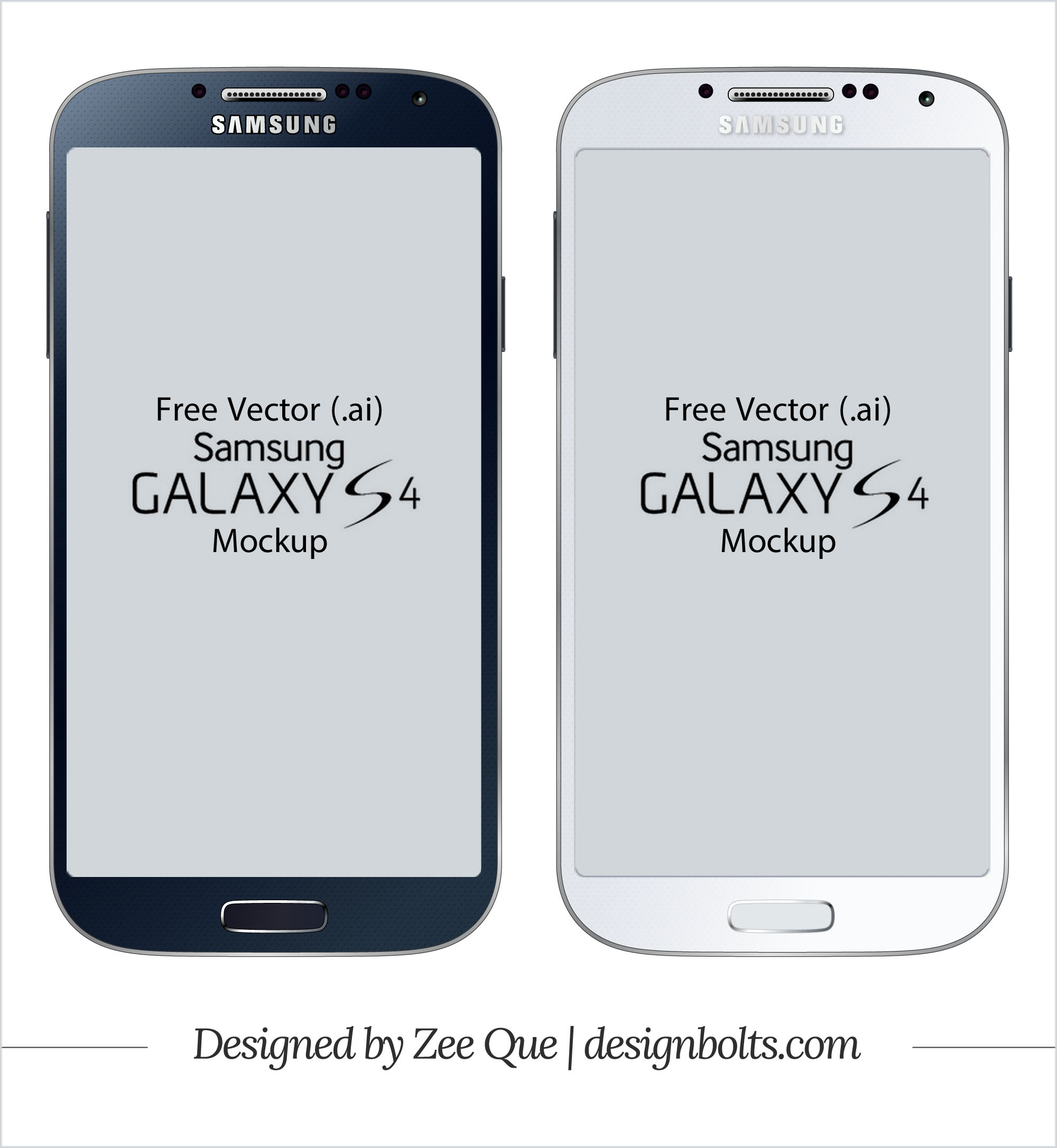 2000x2173 Free Vector Samsung Galaxy S4 Mockup In .ai Format