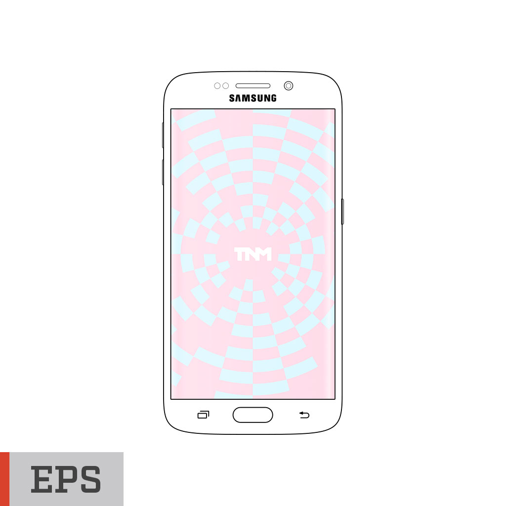 1024x1024 Vector Mockup Eps Template For Samsung Galaxy S6 Edge