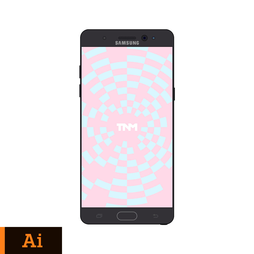 1024x1024 Flat Vector Mockup Illustrator Template For Samsung Galaxy Note