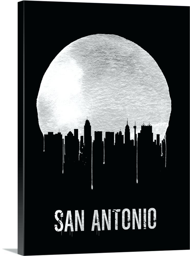 743x1000 San Antonio Skyline Art Greetings From Vector