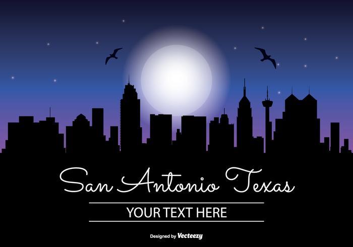 700x490 San Antonio Texas Night Skyline Illustration