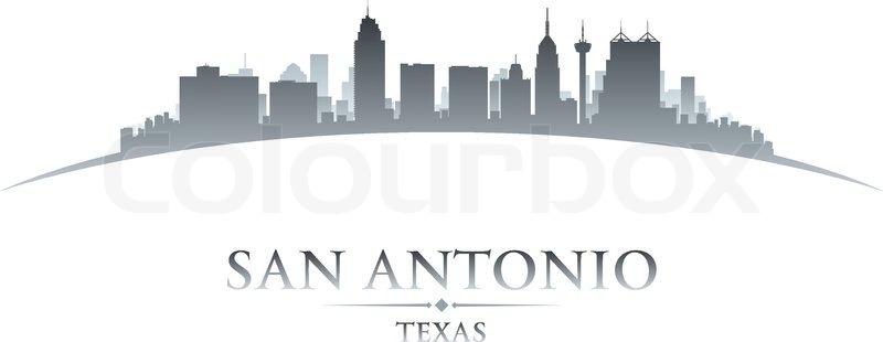 800x310 San Antonio Texas City Skyline Silhouette. Vector Illustration