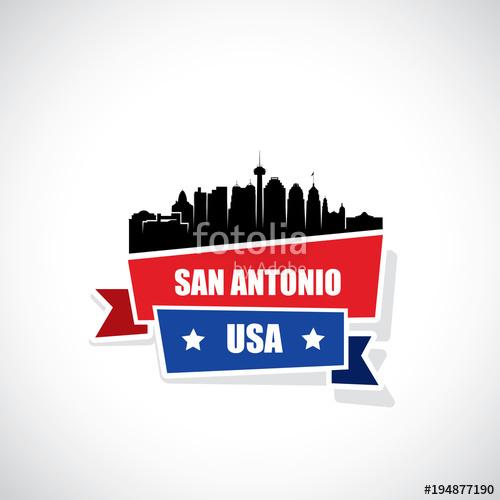 500x500 San Antonio Skyline Ribbon Banner Stock Image And Royalty Free
