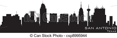 450x148 San Antonio, Texas Skyline. Detailed Vector Silhouette.