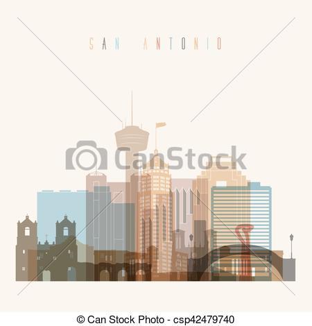 450x470 San Antonio Skyline Poster. Transparent Styled San Antonio... Eps