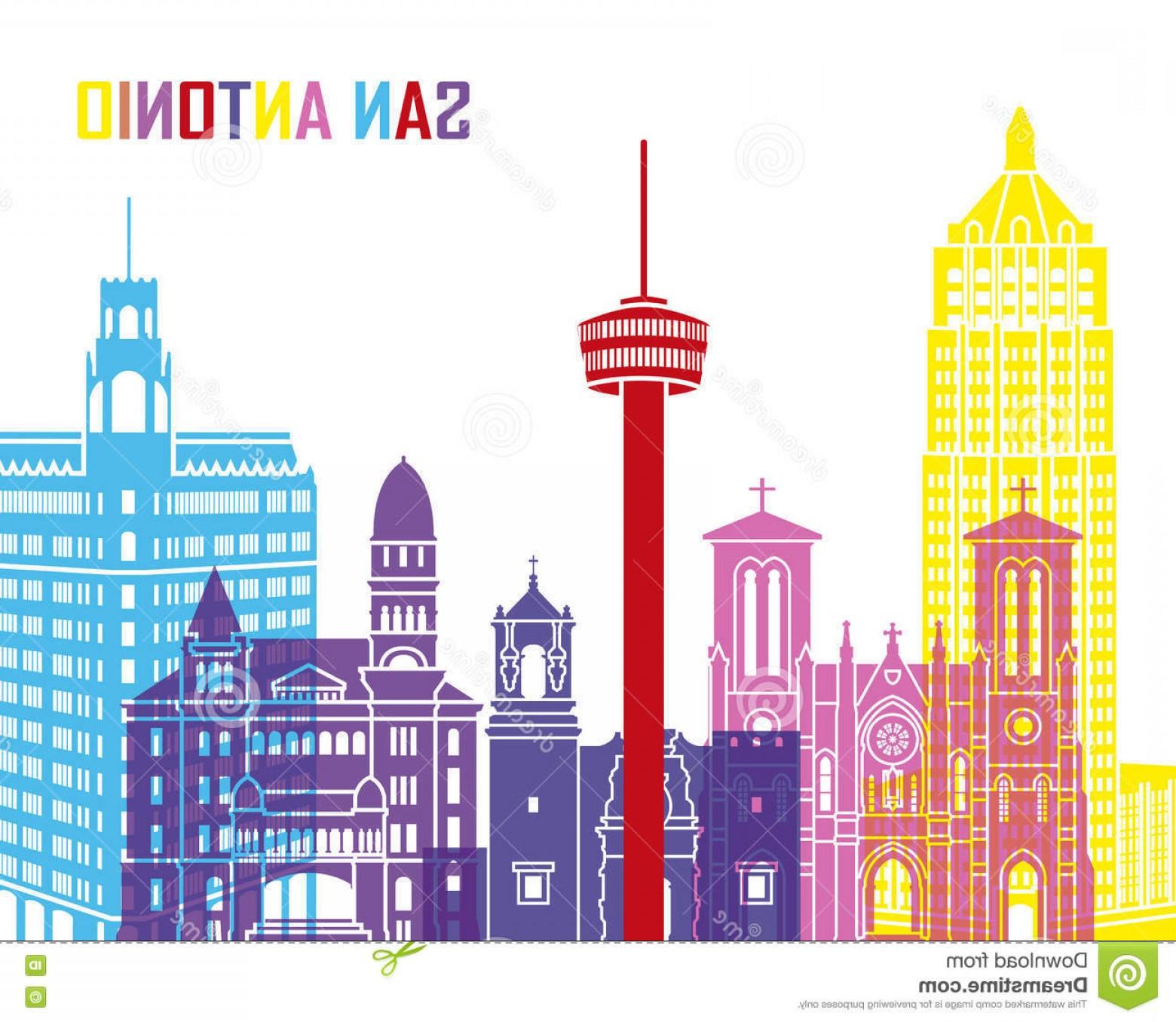 1560x1356 Stock Illustration San Antonio Skyline Pop Editable Vector File