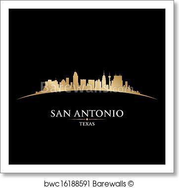 362x382 Art Print Of San Antonio Texas City Skyline Silhouette Black