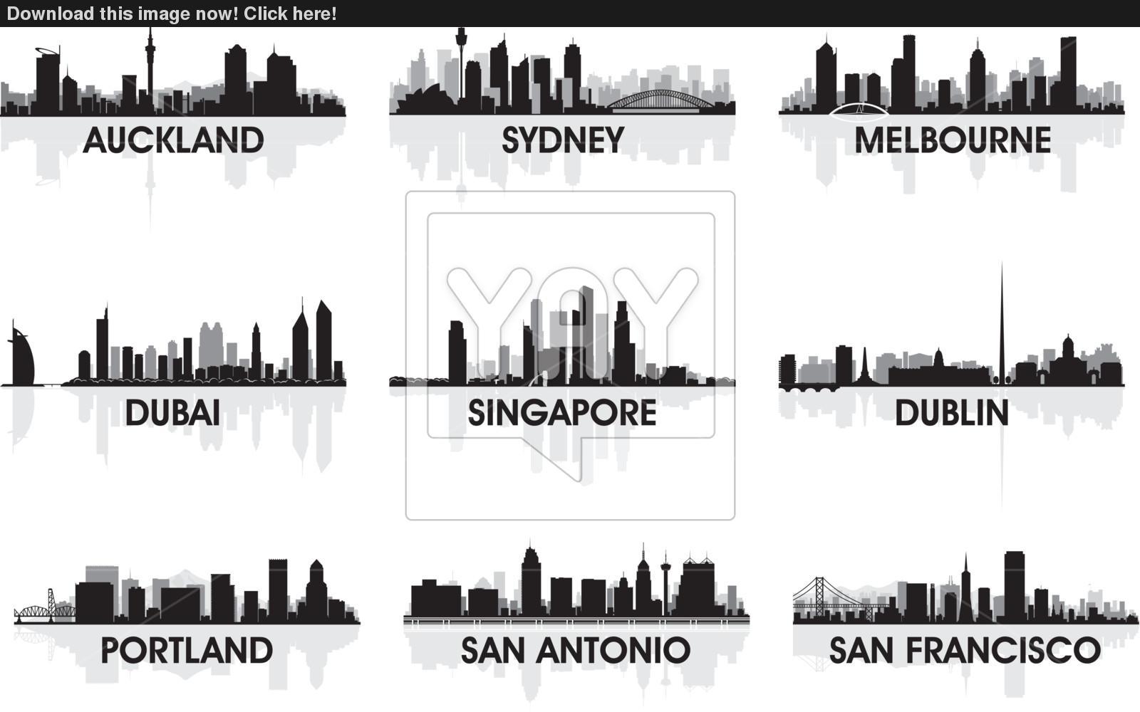 1600x1000 City Skyline Vector