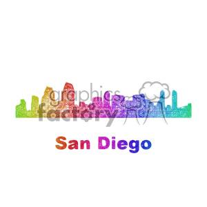 300x300 Royalty Free City Skyline Vector Clipart Usa San Diego 402717