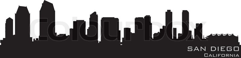 800x194 San Diego, California Skyline Detailed Vector Silhouette Stock