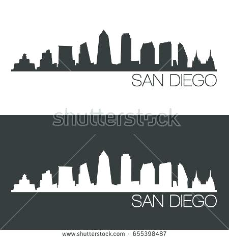 450x470 San Diego Skyline Art Skyline Photograph Skyline At Night By San