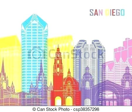 450x380 San Diego Skyline Art Skyline Pop Art City San Diego Skyline