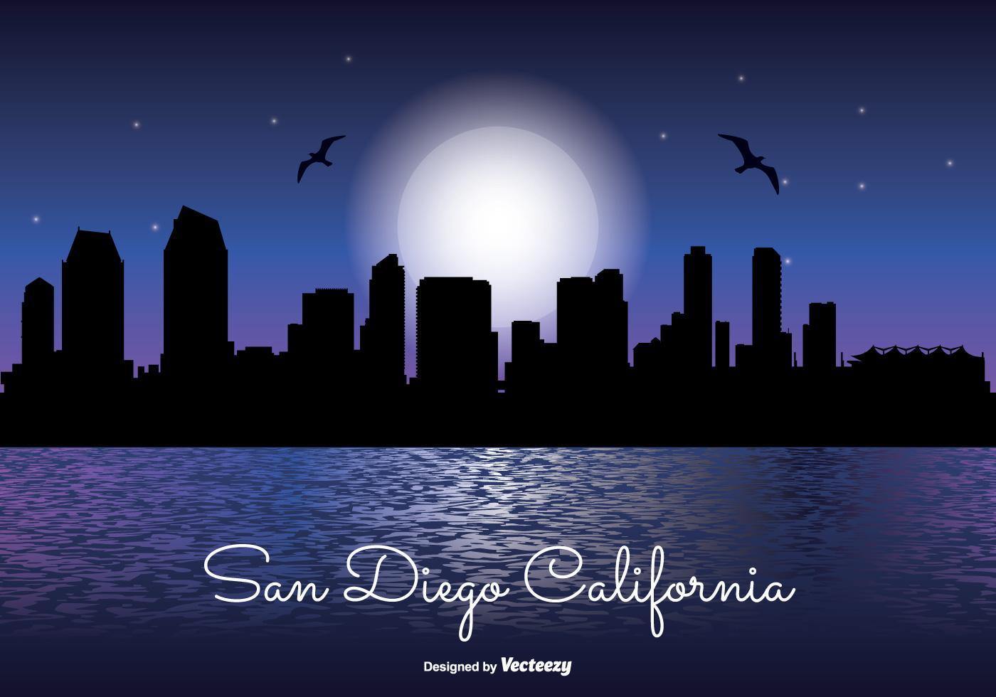 1400x980 San Diego Skyline Free Vector Art
