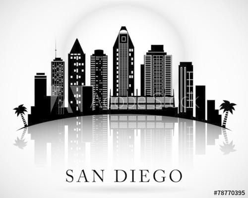 500x400 San Diego Skyline. City Silhouette