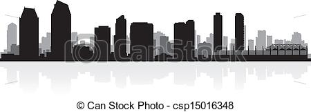450x162 San Diego City Skyline Silhouette. San Diego Usa City Skyline