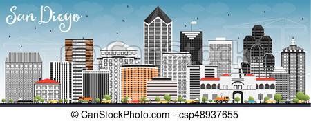 450x176 San Diego Skyline With Gray Buildings And Blue Sky. Vector