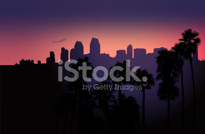 670x440 Skyline De San Diego Vetor Stock Vector