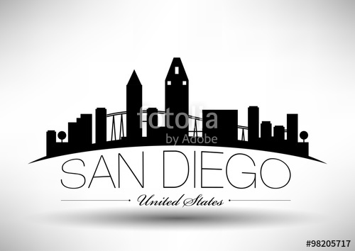 500x354 Vector San Diego Skyline Design With Typography Stock Image And