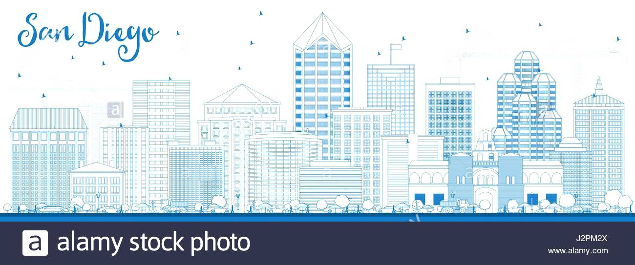 1300x543 Outline Skyline With Blue Buildings Vector Illustration Business