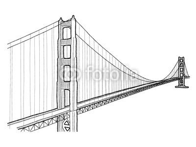 400x300 Golden Gate Bridge Vector Illustration Landmark Cartoon Art Buy