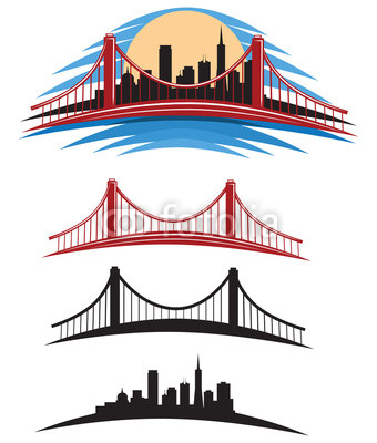 340x400 San Francisco Bay Golden Gate Bridge Vector Illustration Pack