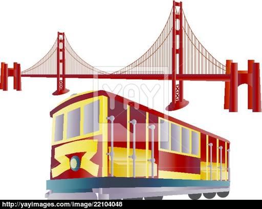 512x408 San Francisco Cable Car And Golden Gate Bridge Vector
