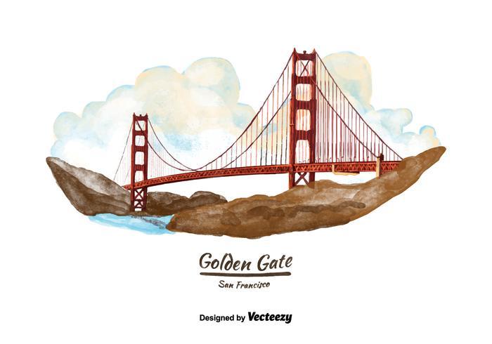 700x490 San Francisco Golden Gate Bridge Watercolor Vector