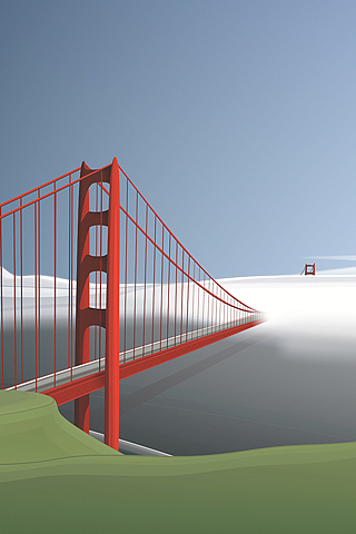 320x480 San Francisco Golden Gate Bridge Vector Iphone Wallpaper
