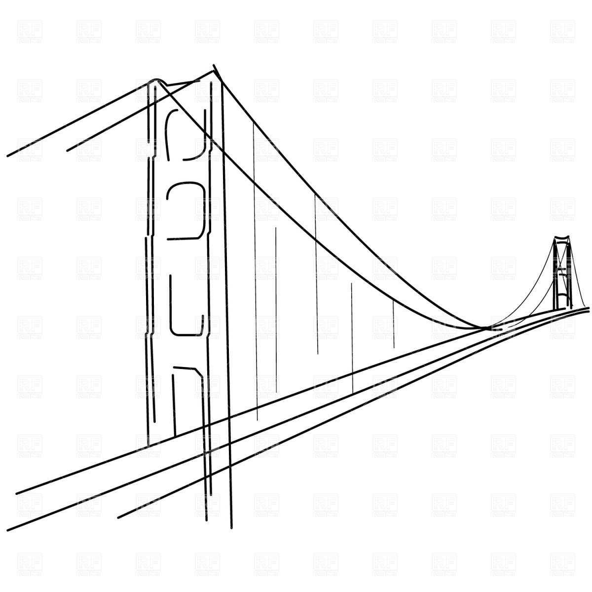 1200x1200 Symbolic Golden Gate Bridge Silhouette Vector Image Vector