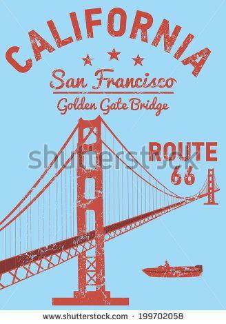 328x470 California San Francisco Golden Gate Bridge Vector Art