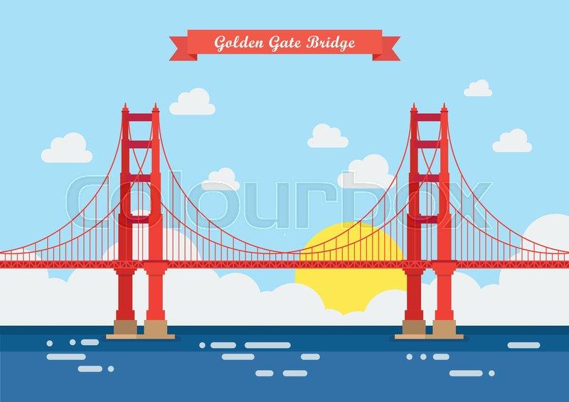 800x565 Flat Style Golden Gate Bridge. Vector Illustration Stock Vector