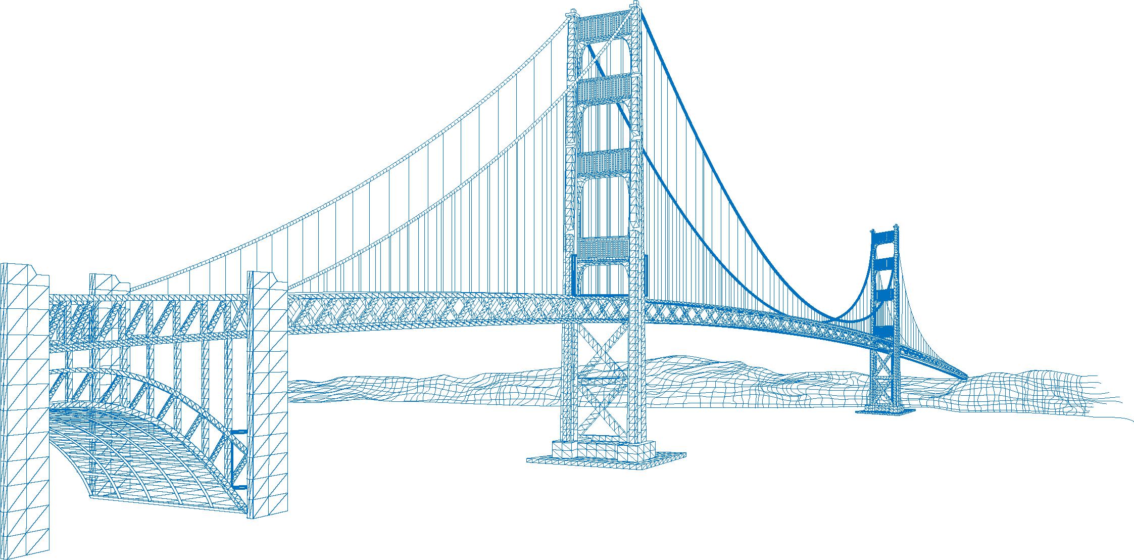 2245x1108 Golden Gate Bridge Eiffel Tower Vector Building