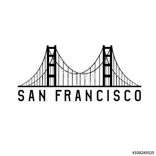 500x500 Golden Gate Bridge In San Francisco Vector Design Illustration