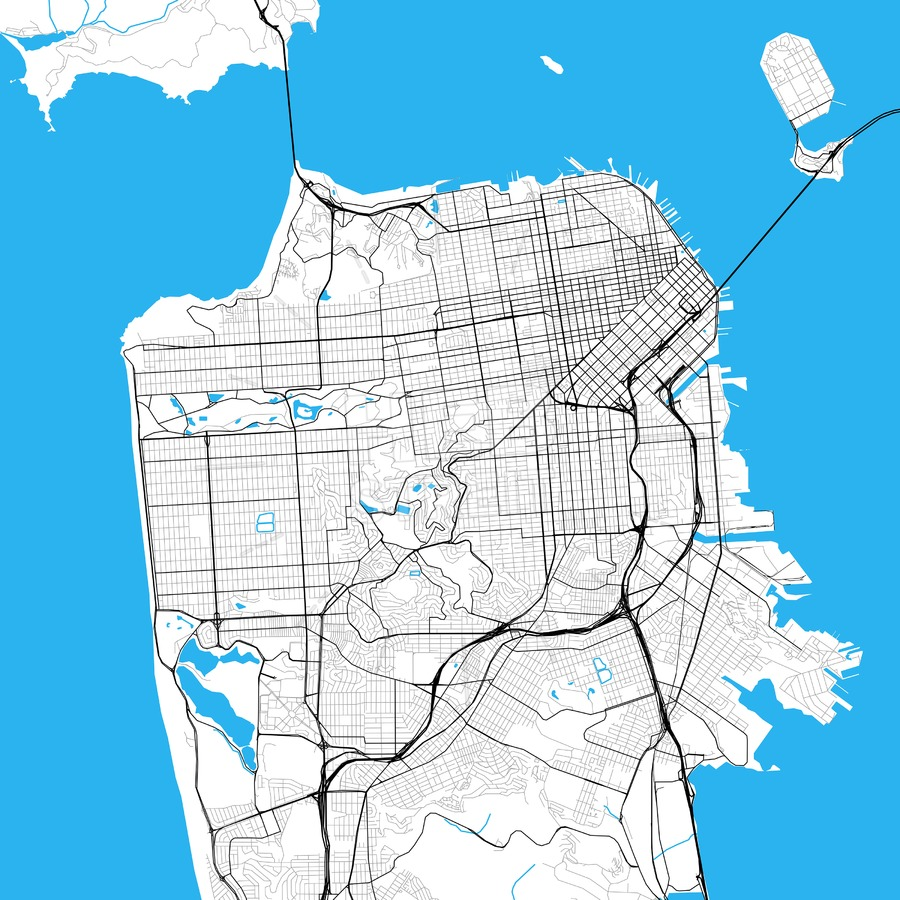 900x900 San Francisco High Resolution Vector Map Hebstreits