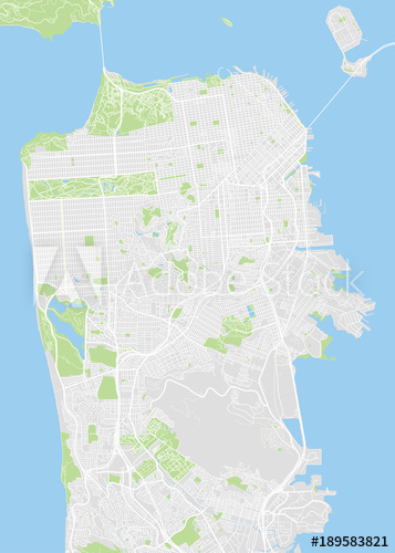357x500 San Francisco Colored Vector Map