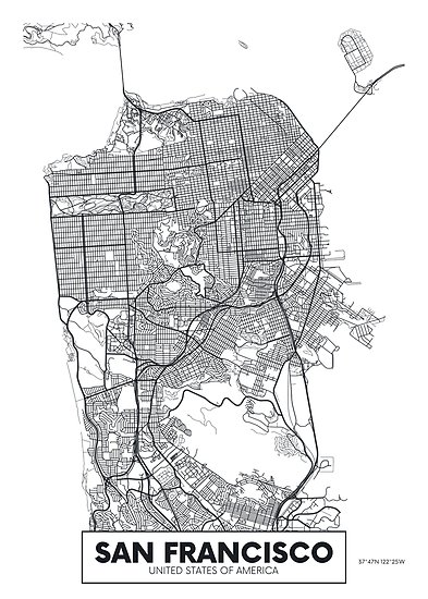 393x550 Vector Poster Map City San Francisco Posters By Maximgertsen