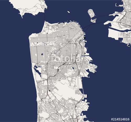500x465 Vector Map Of The City Of San Francisco, Usa Stock Image And