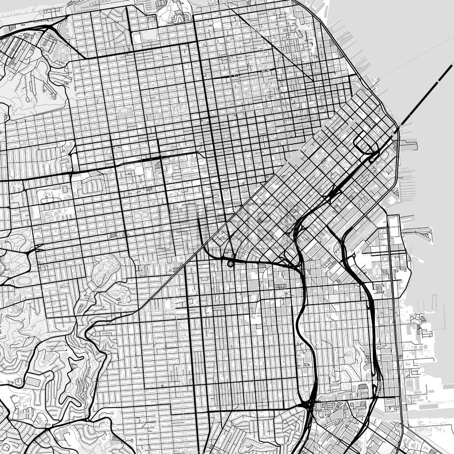 900x900 Downtown Map Of San Francisco, Light Maps Vector Downloads