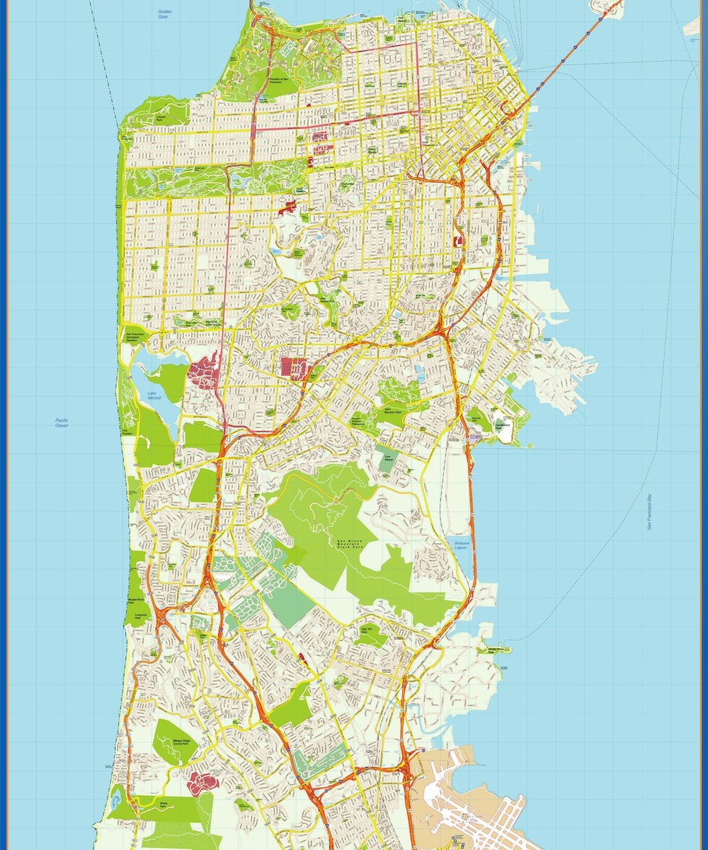 1000x1200 Find San Francisco Vector Map. Eps Illustrator Vector City Maps