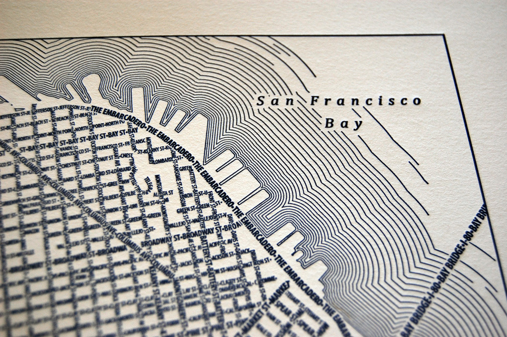 1000x665 New Letterpress Maps Of San Francisco And Manhattan