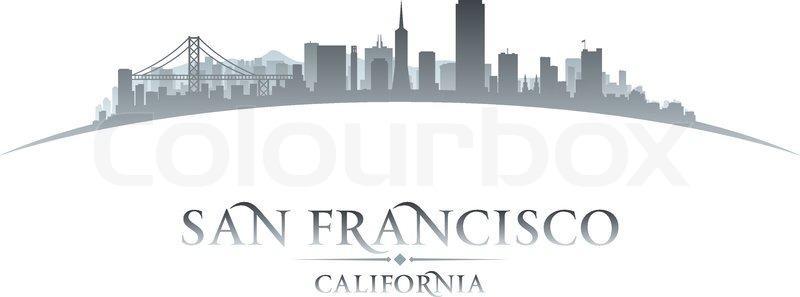 800x297 San Francisco California City Skyline Silhouette. Vector