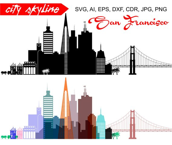 570x481 San Francisco Svg California Vector Skyline Golden Gate Etsy