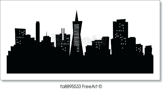 560x305 San Francisco Skyline Silhouette City Skyline Silhouette Wall