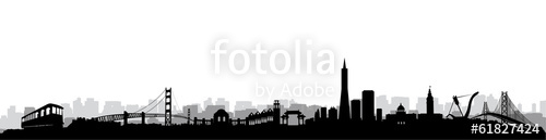 500x129 San Francisco Skyline Silhouette Vector Stock Image And Royalty