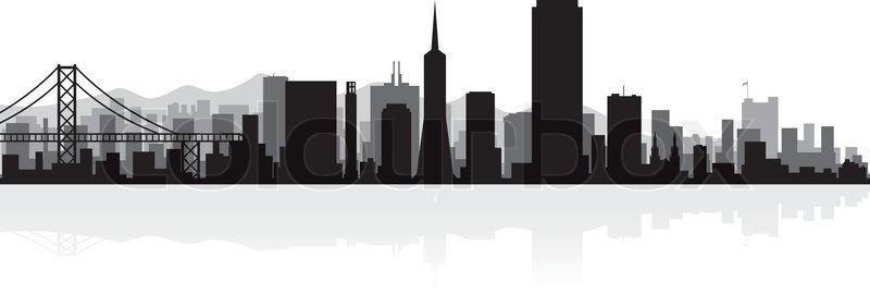 800x271 San Francisco Usa City Skyline Silhouette Vector Illustration