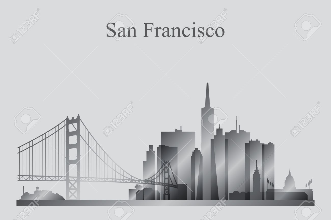 1300x866 San Francisco City Skyline Silhouette In Grayscale, Vector