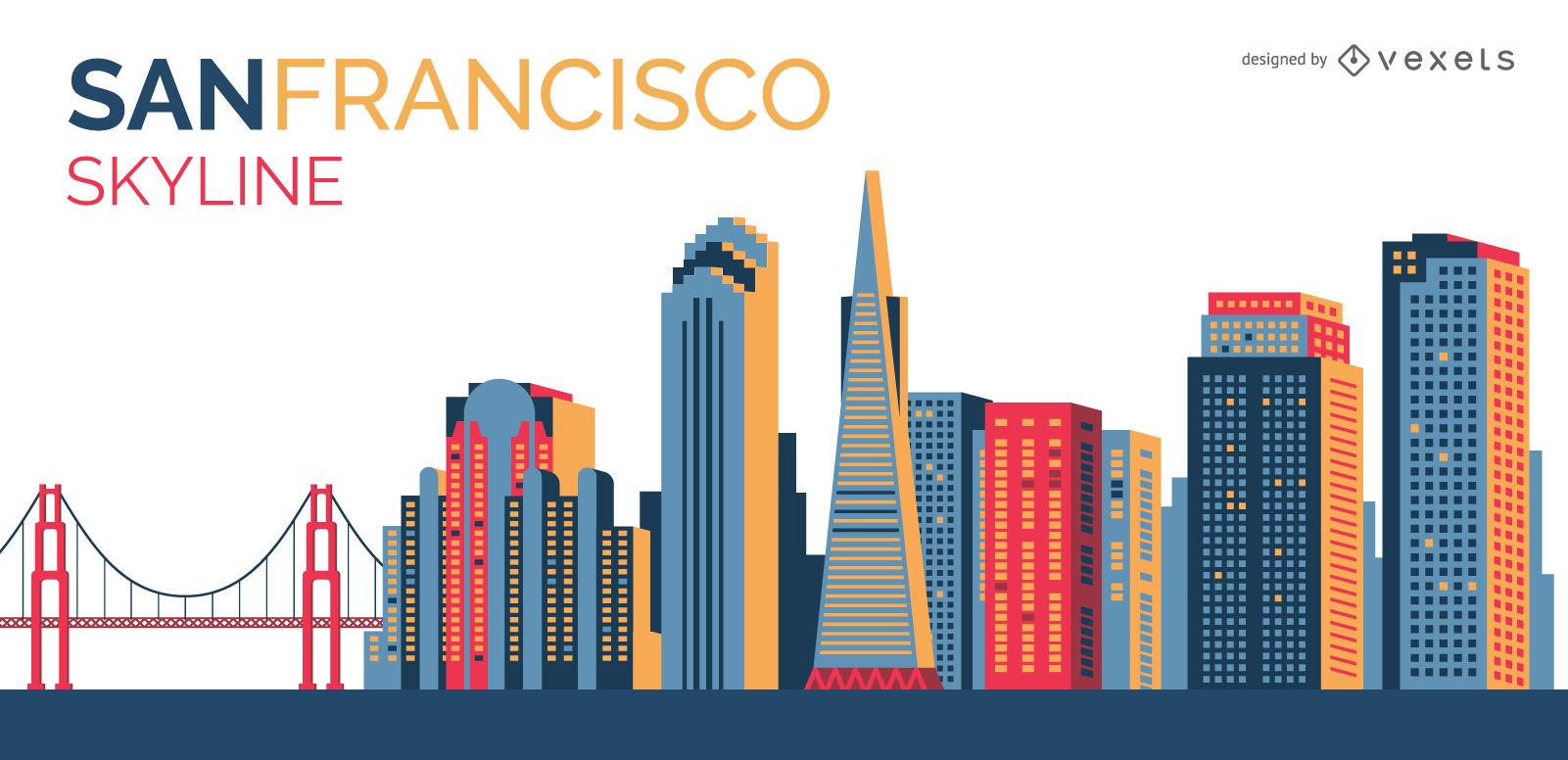 1601x776 San Francisco Colorful Skyline